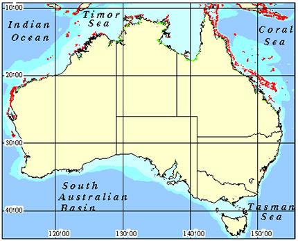 Australia Coral Reef Maps from Blane Peruns TheSea
