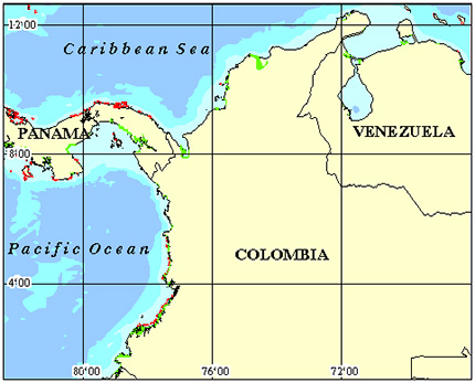 Americas - Columbia Coral Reef Maps