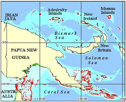 Papua New Guinea Coral Reef Maps from Blane Peruns TheSea