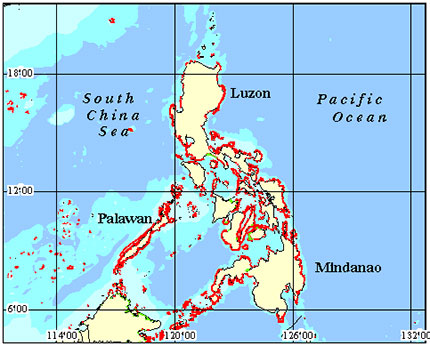 Philippines North Coral Reef Maps from Blane Peruns TheSea