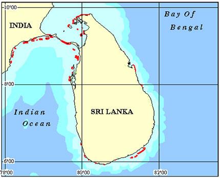 Asian - Sri Lanka Coral Reef Maps