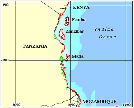 Tanzania Coral Reef Maps from Blane Peruns TheSea